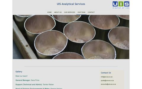 Screenshot of Team Page uis-as.co.za - UIS Analytical Services - Our Team - captured Sept. 30, 2018