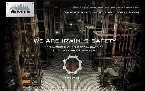 Screenshot of Home Page irwinsafety.com - Providing the Highest Standards of Safety Services | Irwin's Safety - captured Sept. 19, 2014