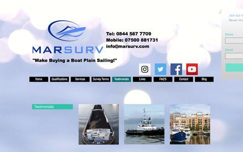 Screenshot of Testimonials Page ebsurveys.com - Boat, Yacht, Narrowboat & Houseboat Surveys, Essex, Kent, UK & Europe   Testimonials - captured July 30, 2017