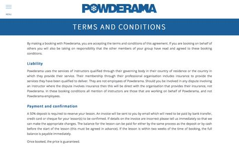 Screenshot of Terms Page powderama.com - Powderama - captured May 20, 2017
