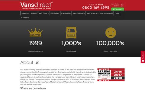 Screenshot of About Page vansdirect.co.uk - About Vansdirect - The No. 1 Independent Commercial Vehicle Retailer - captured June 13, 2019