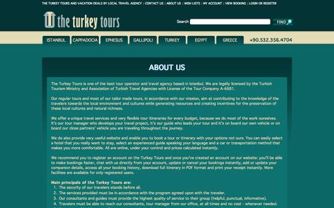 Screenshot of About Page theturkeytours.com - About the Turkey Tours: Experienced Tour Operator and Travel Agency - captured Oct. 9, 2014