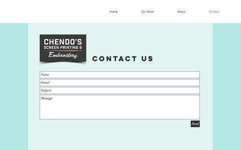 Screenshot of Contact Page chendosscreenprinting.com - mysite | Contact - captured Sept. 24, 2018