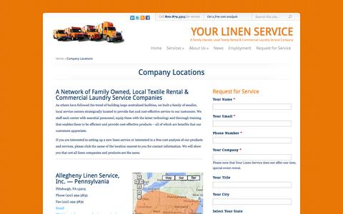 Screenshot of Locations Page yourlinenservice.com - Company Locations - captured Sept. 30, 2014