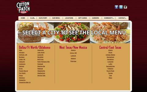 Screenshot of Menu Page cottonpatch.com - Cotton Patch Cafe - Fresh Grilled Favorites | News - captured Aug. 27, 2016