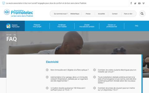 Screenshot of FAQ Page promotelec.com - FAQ - Espace particuliers - captured July 17, 2016