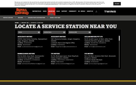 Screenshot of Services Page royalenfield.com - Locate a Service Center Near You - Royalenfield.com - captured Sept. 20, 2018
