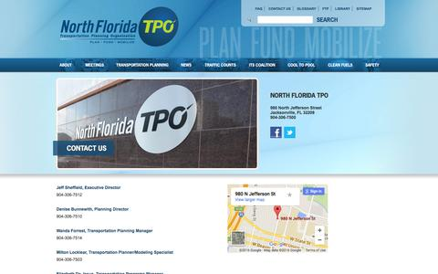 Screenshot of Contact Page northfloridatpo.com - Contact Us - North Florida TPO - captured March 11, 2016