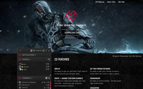 Screenshot of Home Page downloadc3.com - C3 - The Best Voice Chat for Gamers - captured Aug. 29, 2015