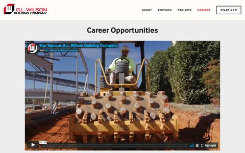 Screenshot of Jobs Page glwilson.com - Careers — G.L. Wilson Building Company - captured Sept. 25, 2018