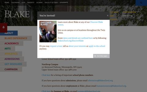 Screenshot of Contact Page blakeschool.org - The Blake School: Contact Us - captured Oct. 18, 2018