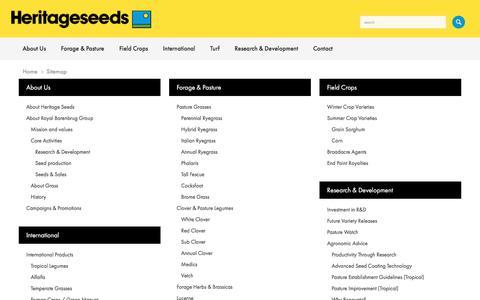 Screenshot of Site Map Page heritageseeds.com.au - Barenbrug Heritage Seeds // Sitemap - captured July 19, 2018