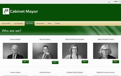 Screenshot of Team Page cabinetmayor.ch - Cabinet Mayor - Our Team - captured Oct. 1, 2014
