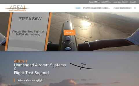 Screenshot of Home Page areai.aero - AREA-I Unmanned Aircraft Systems / Flight Test Support - captured Oct. 4, 2018