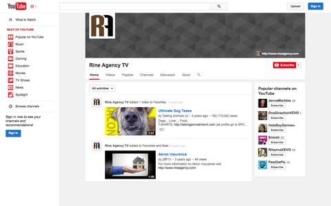 Screenshot of YouTube Page youtube.com - Rine Agency TV  - YouTube - captured Oct. 26, 2014