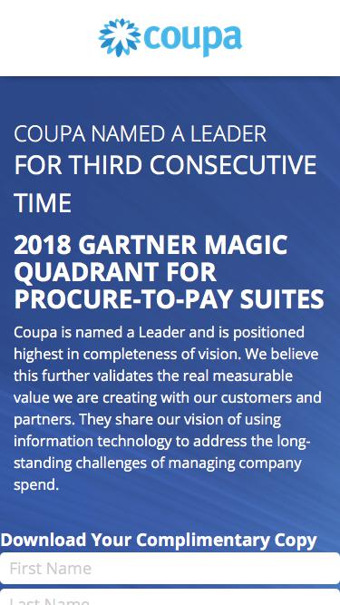 Coupa Named a Leader | 2018 Gartner Magic Quadrant for Procure-to-Pay Suites | Coupa Software
