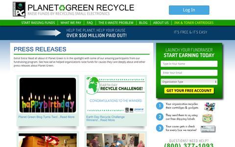 Screenshot of Press Page planetgreenrecycle.com captured July 8, 2016