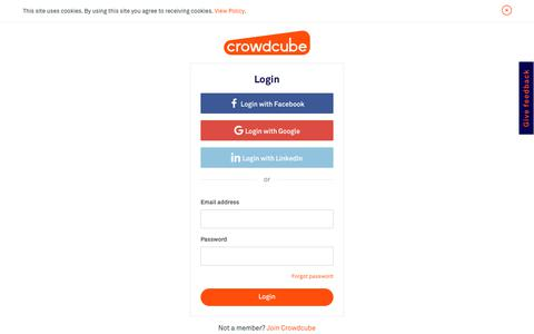Screenshot of Login Page crowdcube.com - Join and Start Investing Today - Crowdcube - captured Aug. 5, 2019