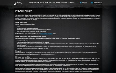 Screenshot of Privacy Page zhik.com - Privacy Policy - captured Oct. 27, 2014