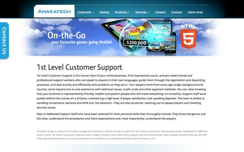 Screenshot of Support Page anakatech.com - 1st Level Customer Support | Anakatech - captured Feb. 6, 2016