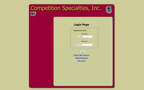 Screenshot of Login Page competitionspecialties.com - Competition Specialties, Inc. Login page. - captured Sept. 30, 2014