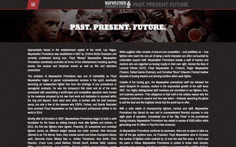 Screenshot of About Page mayweatherpromotions.com - About – Mayweather Promotions - captured Aug. 10, 2016