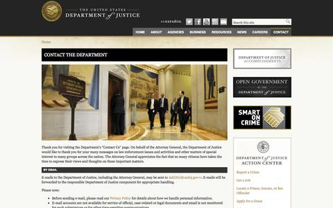 Screenshot of Contact Page justice.gov - Contact the Department | DOJ | Department of Justice - captured Oct. 29, 2014