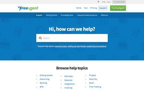 Screenshot of Support Page freeagent.com - FreeAgent Support - captured Sept. 20, 2017