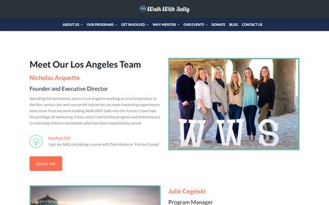 Screenshot of Team Page walkwithsally.org - Meet Our Los Angeles Team | Walk With Sally - captured Sept. 21, 2018