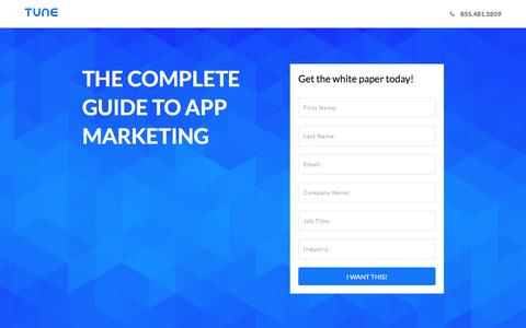 Screenshot of Landing Page tune.com - The Complete Guide to App Marketing - captured Jan. 3, 2017