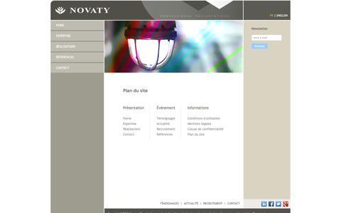 Screenshot of Site Map Page novaty.com - Novaty | Plan du site | Expert PowerPoint - Office PowerPoint - Office 2007 - captured Jan. 12, 2016