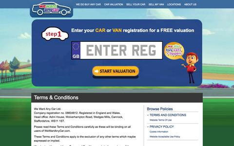 Screenshot of Terms Page wewantanycar.com - Terms & Conditions - We Want Any Car Ltd - captured Oct. 26, 2014