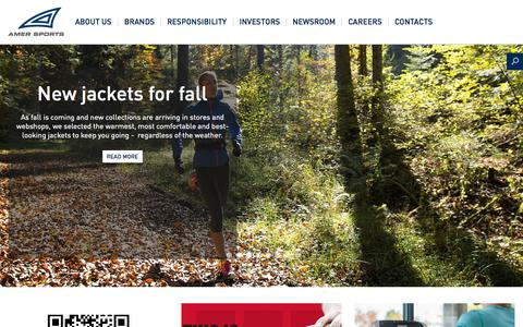 Screenshot of Home Page amersports.com - Amer Sports - Amer Sports - captured Oct. 7, 2015