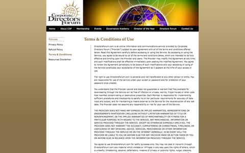 Screenshot of Terms Page directorsforum.org - Corporate Directors Forum –  Terms & Conditions of Use - captured Oct. 3, 2014