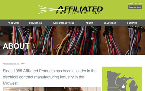 Screenshot of About Page affprod.com - Affiliated Products, Inc.  About - captured Nov. 20, 2016