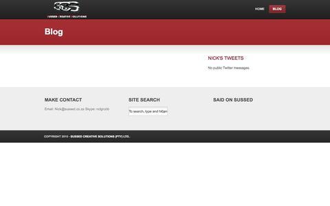 Screenshot of Blog sussed.co.za - Blog - captured Oct. 7, 2014