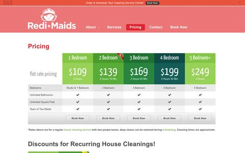 Screenshot of Pricing Page redi-maids.com - Pricing - Redi-Maids - captured Oct. 1, 2014