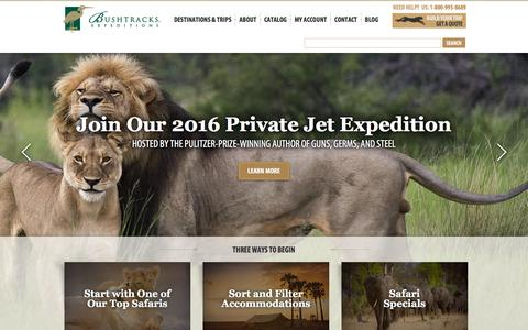 Screenshot of Home Page bushtracks.com - Luxury African Safari Tours - Safaris by Bushtracks - captured Dec. 4, 2015
