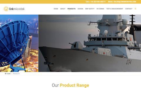 Screenshot of Products Page linkmicrotek.com - Link Microtek Products   Design, EMF Safety, IR Comms, Test & Measurement, Components, Satcom - captured Sept. 29, 2018