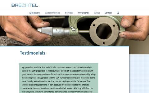 Screenshot of Testimonials Page brechtel.com - Testimonials - Brechtel - captured Nov. 3, 2014
