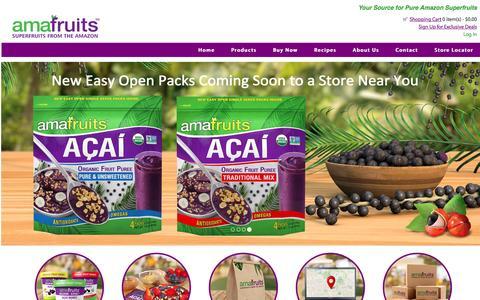 Screenshot of Home Page amafruits.com - Amafruits, Superfruits from the Amazon - Acai, Acerola, Cupuacu, Graviola - captured May 29, 2017