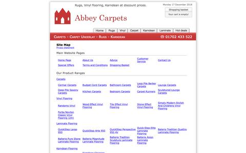 Screenshot of Site Map Page abbey-carpets.co.uk - Site Map : Abbey Carpets - captured Dec. 17, 2018