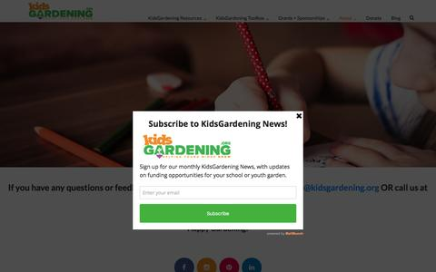 Screenshot of Contact Page kidsgardening.org - Contact Us - Kidsgardening - captured Aug. 29, 2016