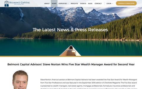 Screenshot of Press Page belmont-capital.com - Belmont Capital Advisors News & Press Releases - captured Nov. 22, 2016