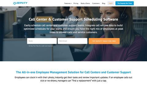 Screenshot of Support Page deputy.com - Call Center & Customer Support Scheduling Software, Communication & Task Management   Deputy - captured March 10, 2017