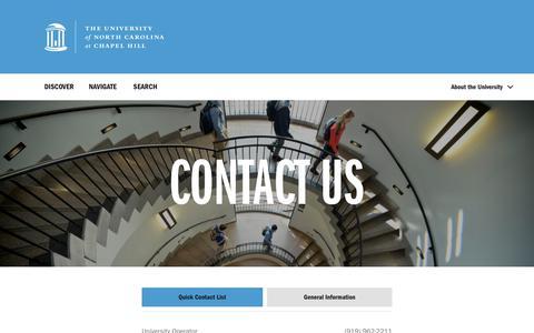 Screenshot of Contact Page unc.edu - Contact Us - The University of North Carolina at Chapel Hill - captured Sept. 21, 2018