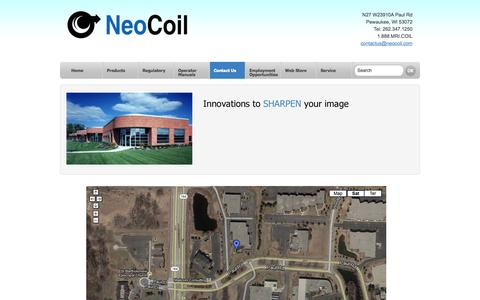 Screenshot of Contact Page Maps & Directions Page neocoil.com - Neocoil - Innovations to SHARPEN your image - captured Oct. 26, 2014