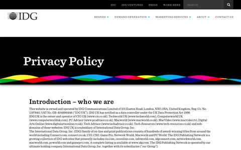 Screenshot of Privacy Page idg.co.uk - IDG UK : Privacy Policy - captured June 24, 2017