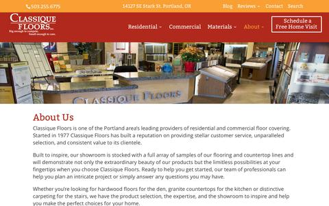 Screenshot of About Page classiquefloors.com - Classique Floors: About Us - captured Jan. 28, 2016