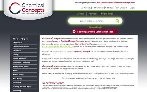Screenshot of About Page chemical-concepts.com - About  Us - captured July 20, 2015